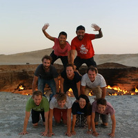 Human Pyramid at Door to Hell
