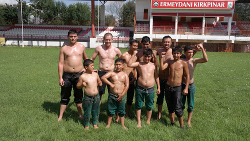 "fun fundraising idea Turkish Oil Wrestling ""Yagli Gures"""