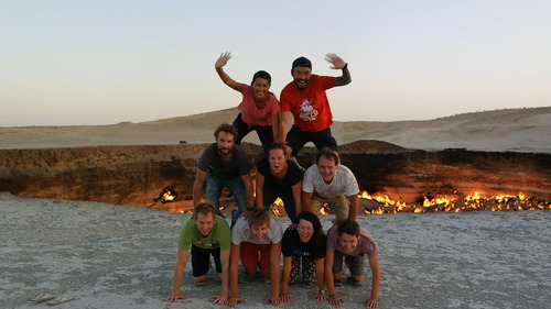 fun fundraising idea Human Pyramid at Door to Hell